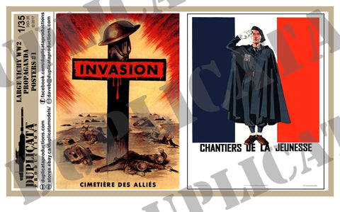 Vichy France WW2 Propaganda Posters, Large #1- 1/35 Scale - Duplicata Productions