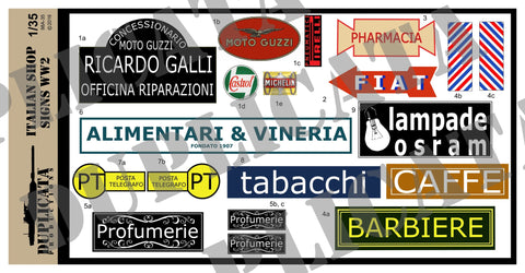 Italian Shop Signs - WW2 - 1/35 Scale - Duplicata Productions