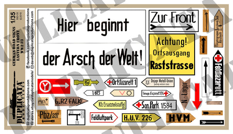 German Road Signs, Eastern Front #3 -  WW2 - 1/35 Scale - Duplicata Productions