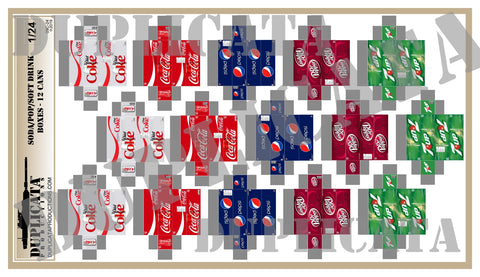 Soda / Pop / Soft Drink 12 Can Boxes - 1/24 Scale - Duplicata Productions