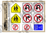 U.S. City Traffic Signs - 1/24 Scale (2 sheets) - Duplicata Productions