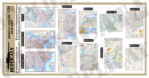 American 1950s/60s Road Maps  - 1/24 Scale - Duplicata Productions