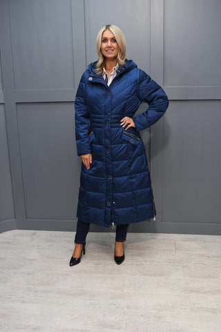 Marble Blue Hooded Puffer Coat