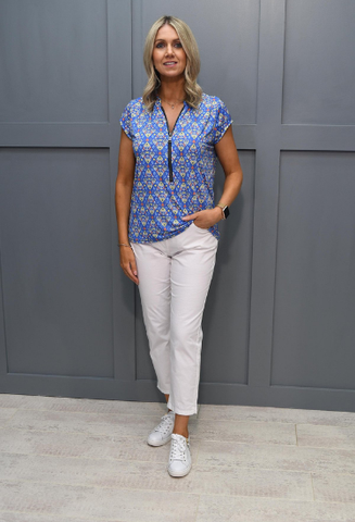 Kate and Pippa Blue Print Zip Top
