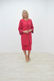 Via Veneto Raspberry Red Plain Coat With Lace Cuff Detail - V3519
