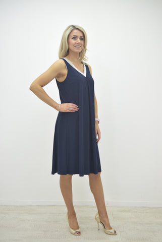 Frank Lyman Navy Dress with Diamante V- Neck and Back - 189224