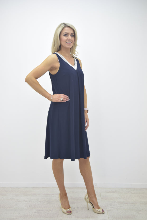 Frank Lyman Navy Dress with Diamante V-Neck and Back