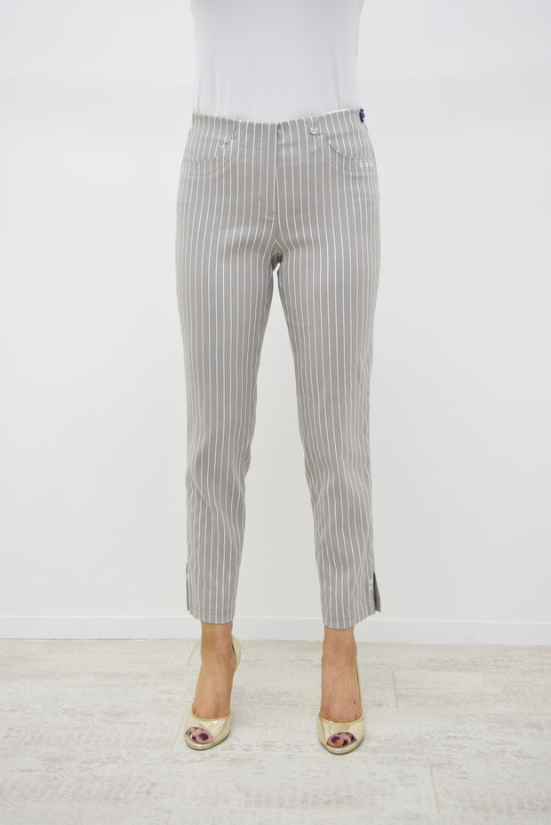 Robell Bella Taupe Pin Striped Trousers - 52483 54567 13