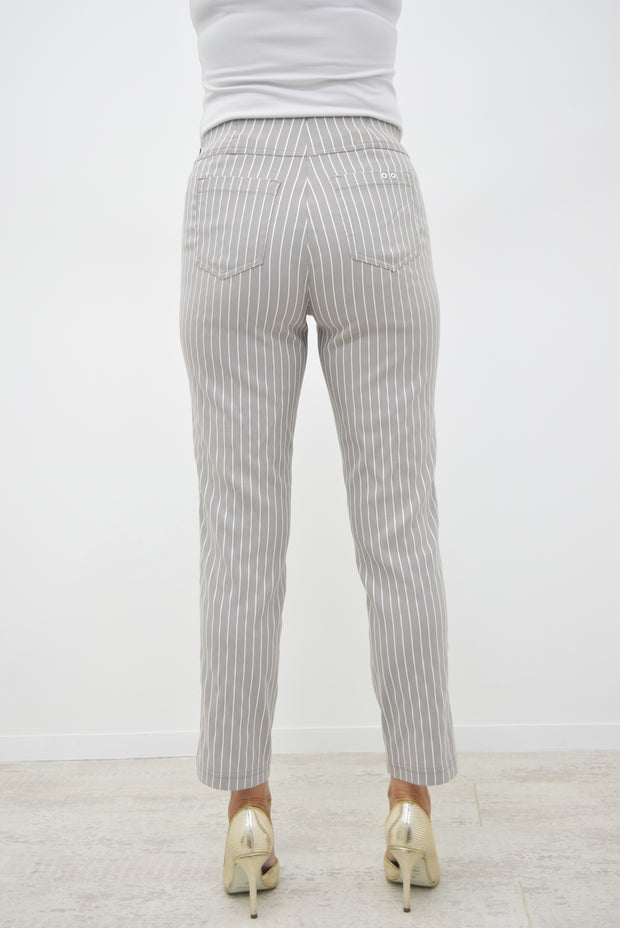 Robell Taupe Striped Bella Trousers - 52483 54567 13