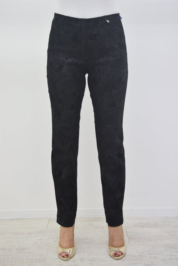 Robell Marie Self Pattern Suedette Black Trouser - 51412 54669 90