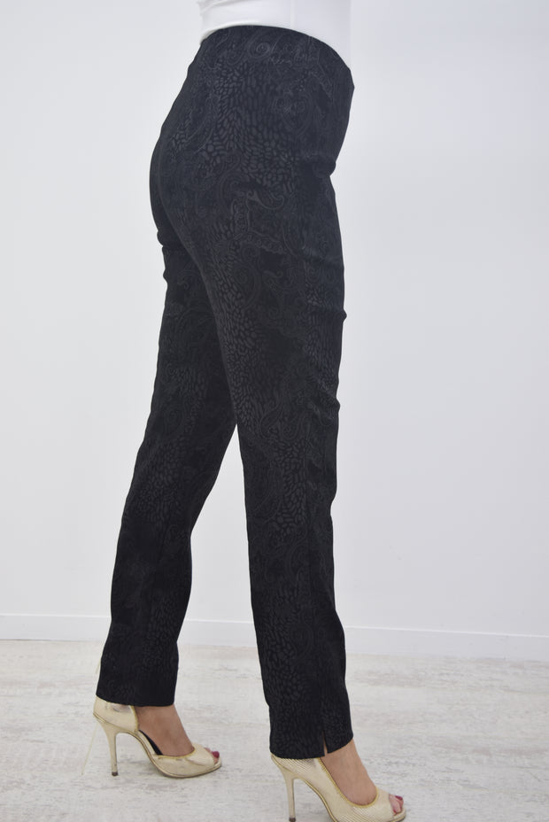 Marie Self Pattern Suedette Black Trouser - 51412 54669 90