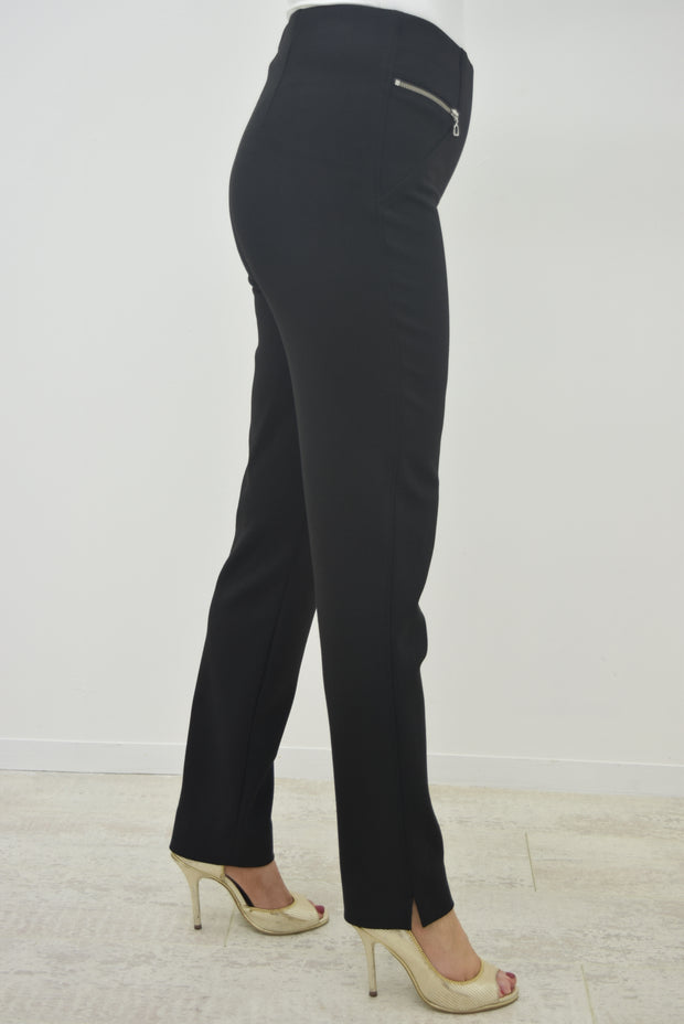 Robell Black Modern Mimi Trousers with Zip - 52476 54654 900