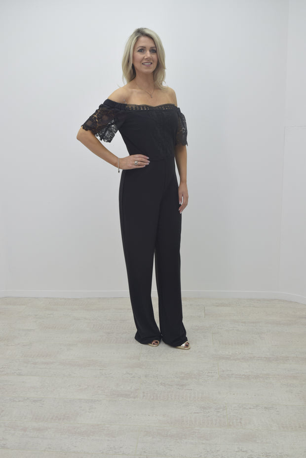 Frank Lyman Black Jumpsuit With Lace Sleeve - 191758
