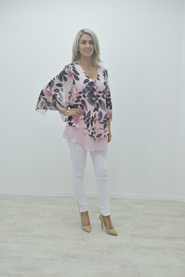 Frank Lyman Pink Chiffon Floral Belle Sleeve Top - 191407