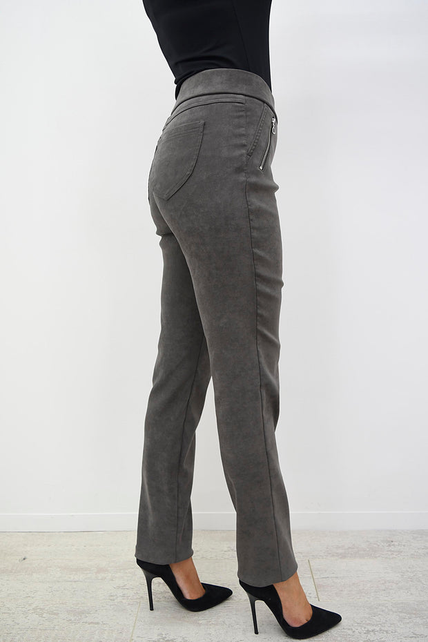 Robell Mink Faux Suede Nena Trouser With Zip Pockets - 52566 54451 38