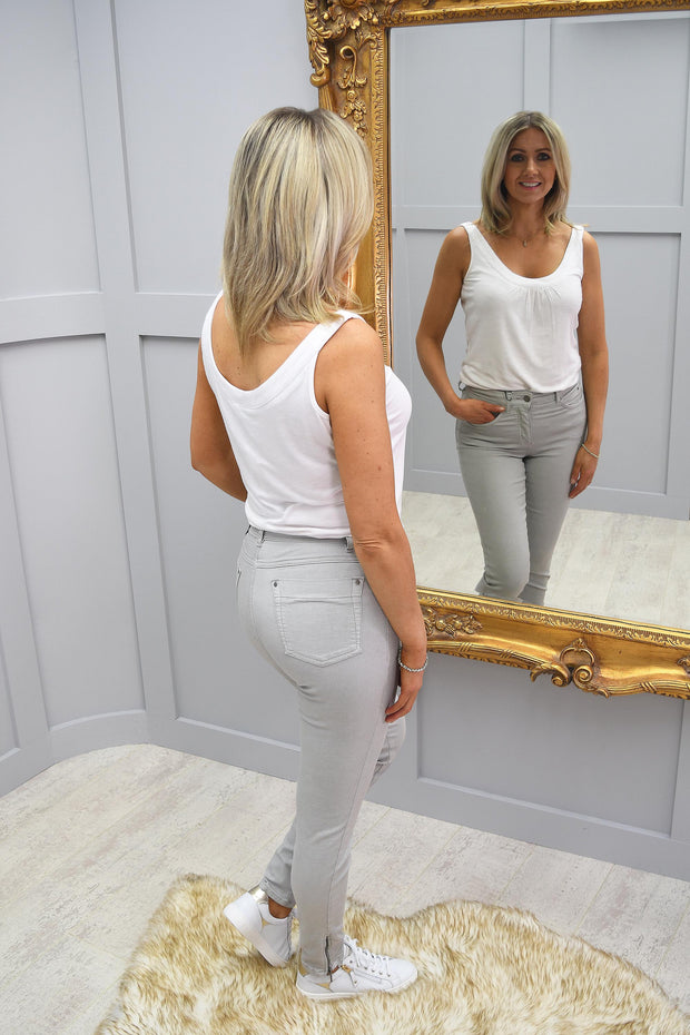 CRO Magic Fit Skinny Silver Grey7/8 Length with side zip - 5226 525 130