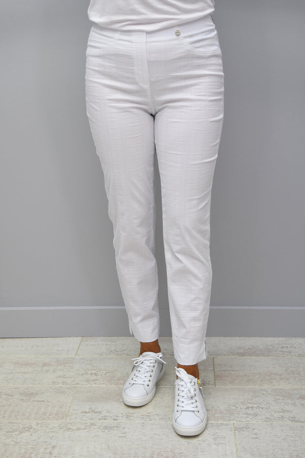 Robell White Stripe Bella Seersucker Trousers - 52642 54554 69