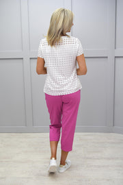 Femme Capri Pink Trousers With Button Detail - 1510