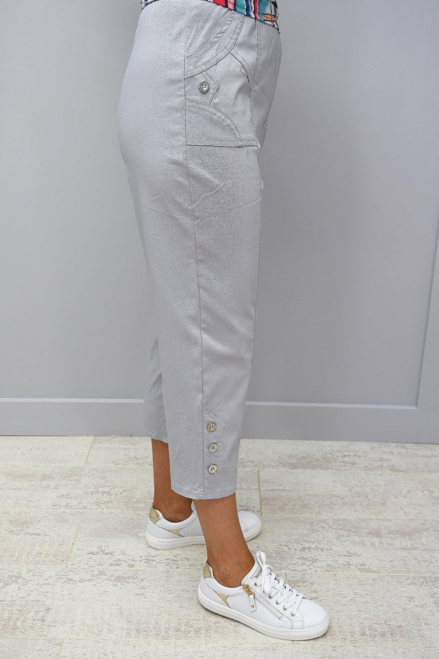 Femme Capri Light Grey Trousers With Button Detail - 1510