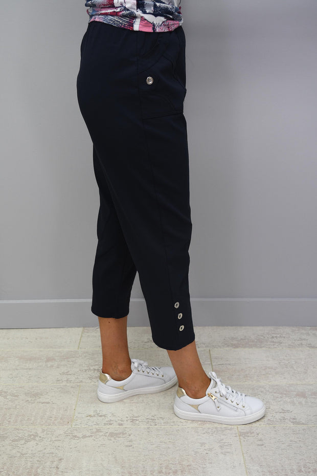 Femme Capri Navy Trousers With Button Detail - 1510