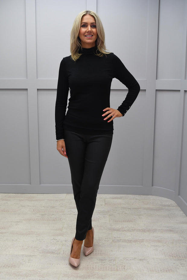Marble Black Actual Plain Polo Neck With Rouched Sleeve Detailing - 5930 101