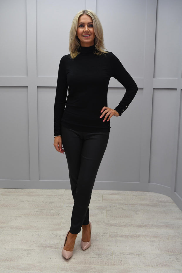 Marble Black Plain Polo Neck With Rouched Sleeve Detailing - 5930 101