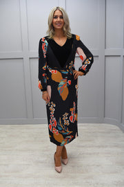 Ella Boo Black Straight V Neck Dress With Colourful Patterns - 2056