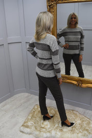 Marble Brown Striped Knitted Long Sleeve Top - 5881 159