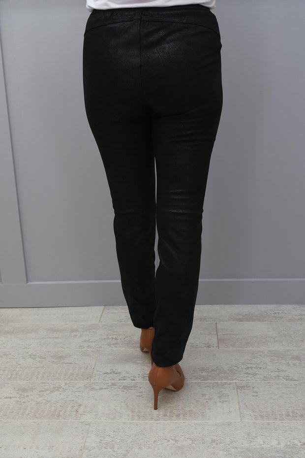 Cro Black Suedette Legging With Zip & Elasticated Waist - 6972 696 111