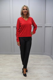 Marble Red V Neck Jumper With Sleeve Detail - 5898 109