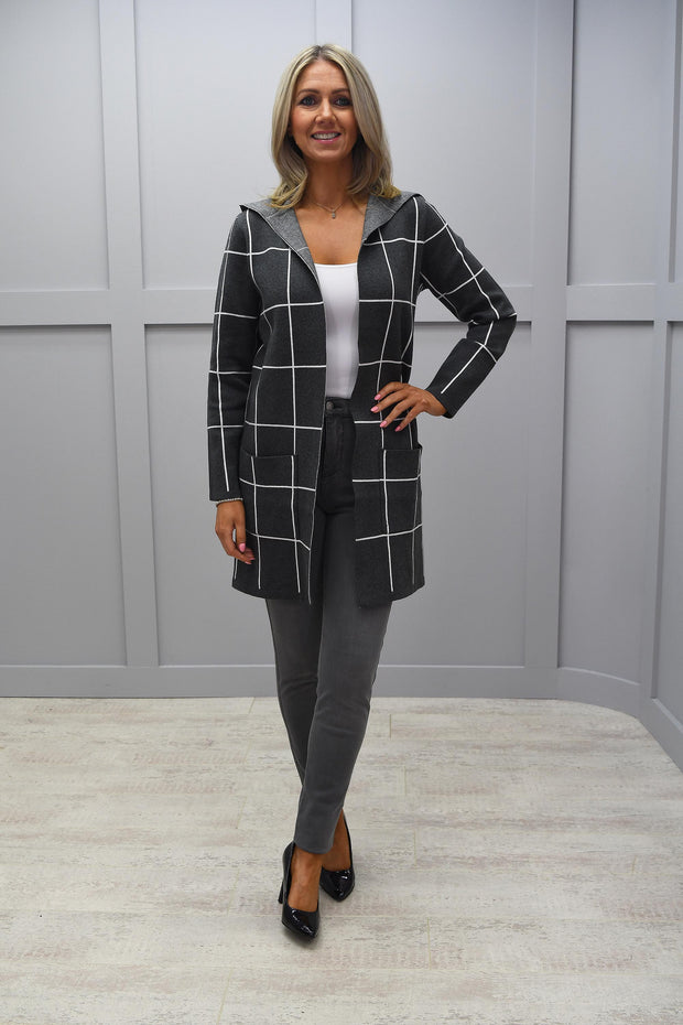 Marble Grey & White Check Hooded Cardigan - 5919 105