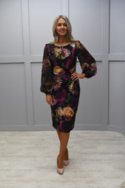 Tia Black Floral Dress With Long Sleeve - 78173 7484 90