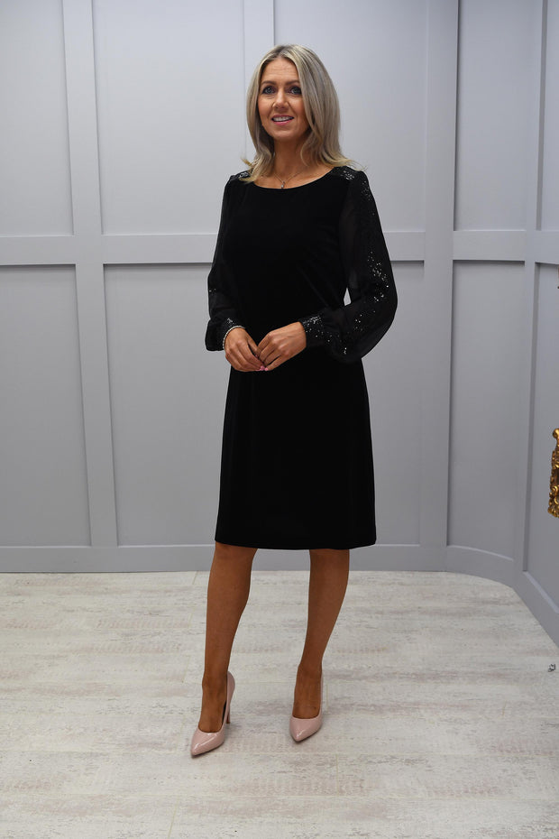 Tia Black Velvet Dress With Diamonte Sleeves Detail - 78023 7395 90