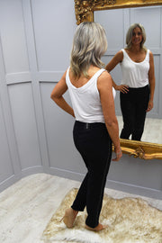 Robell Marie Black Trouser With Diamante Detail On Side - 51532 5499 90