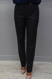 Robell Rose Navy Slim Fit Leatherette Trousers - 51462 54344 69