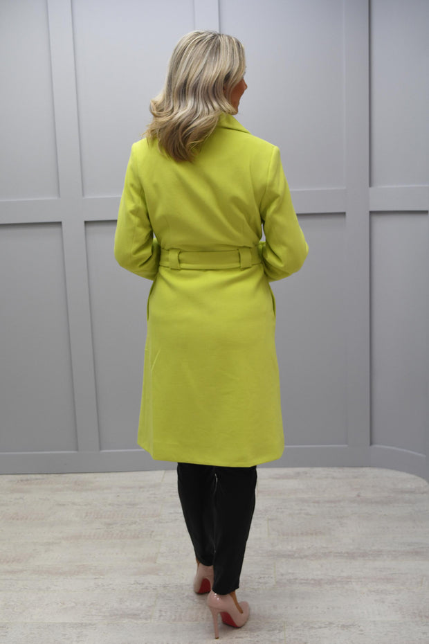 Ella Boo Belted Lime Green Coat - 6628 01