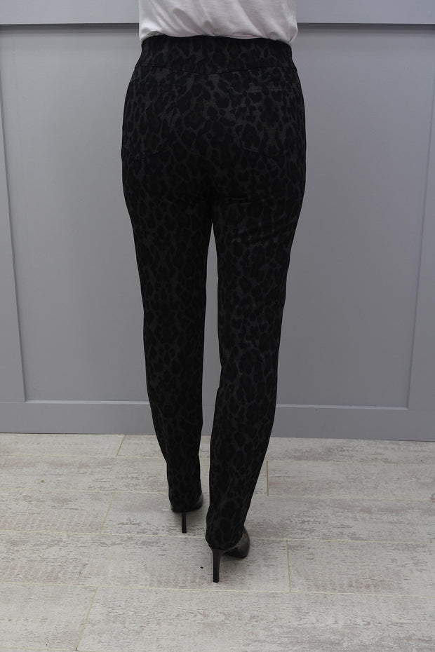 Robell Black Bella Trousers Leopard With Rust Detail - 52564 54948 99