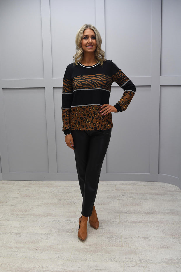 Just White Black Long Sleeve Top With Leopard Print - 43116 981