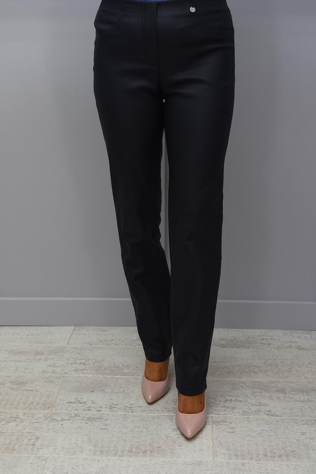 Robell Bella Navy Faux Leather Full Length Trousers - 51559 54344 69