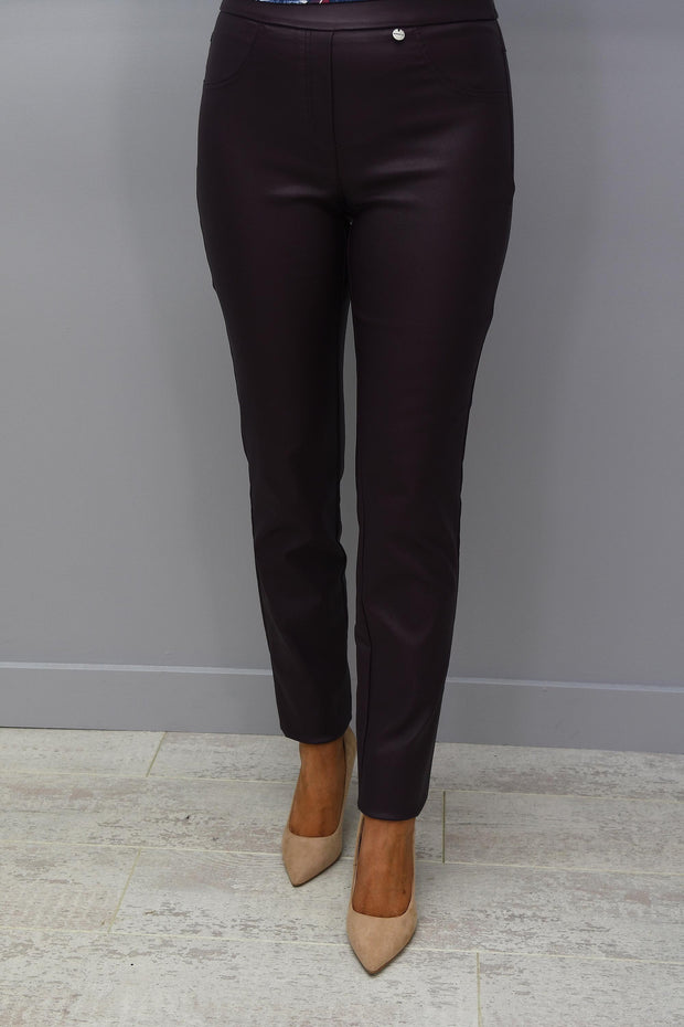 Robell Rose Burgundy Slim Fit Leatherette Trousers - 51462 54344 58
