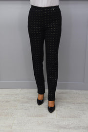 Robell Marie Black, Blue & Gold Print Trousers - 51570 54780 39