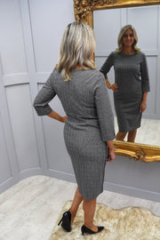 Olsen Small Grey Check Jersey Dress - 13001502 8000