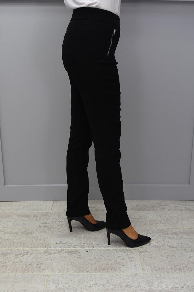 Robell Black Faux Suede Nena Trouser With Zip Pockets - 52566 54451 90