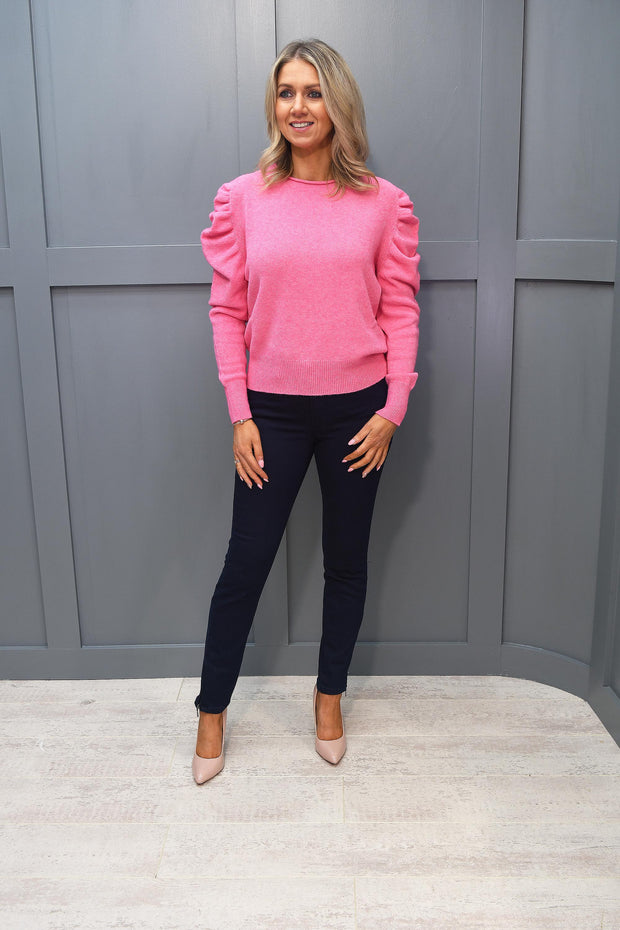 Decollage Pink Rouched Detail Knitted Jumper - 37017