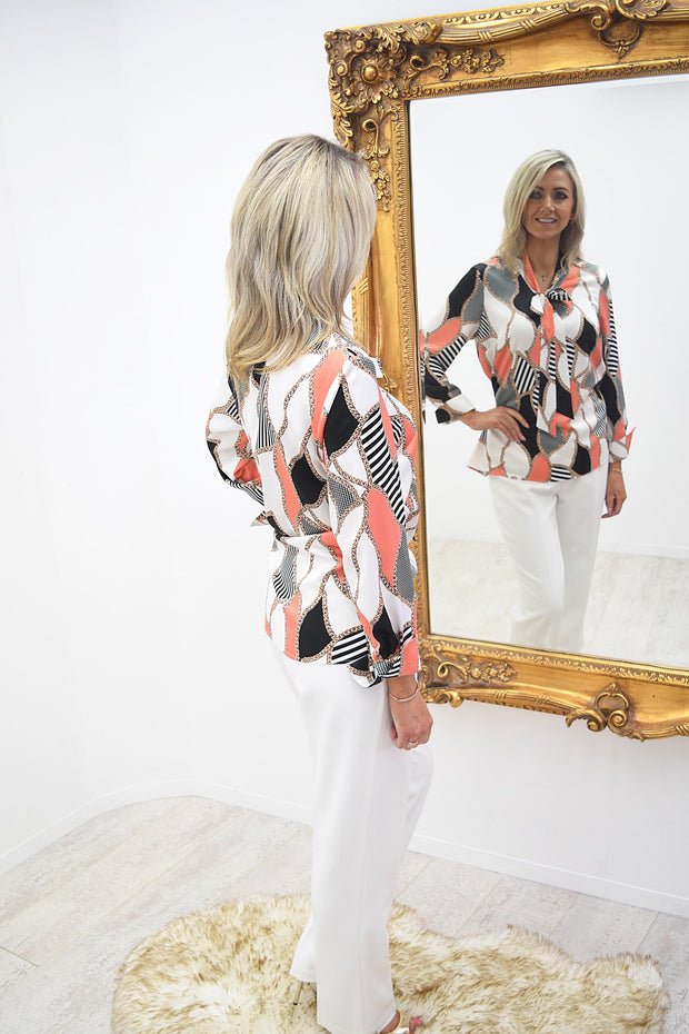 Via Veneto Orange Satin Rope Print Bow Blouse - V3629