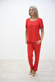 Avalon Red Layer Top With Pearl Trim - A7140