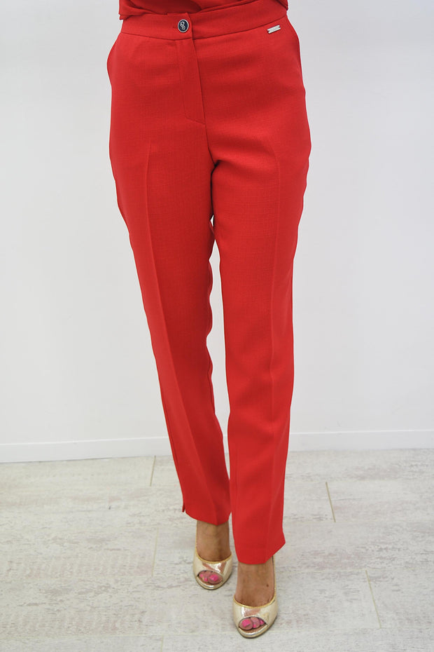 Avalon Red Linen Look Pocket Trouser - A7103