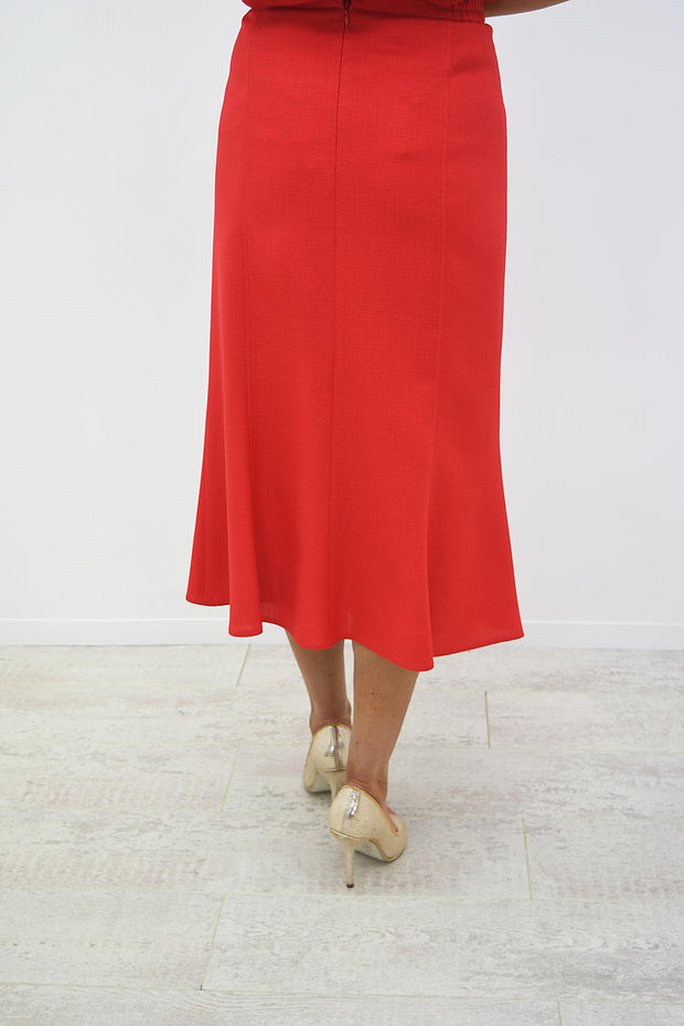 Avalon Red A line Panel Linen Look skirt - A7139