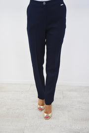 Avalon Navy Linen Look Pocket Trouser - A7103