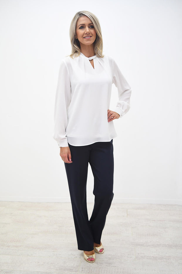 Avalon Off White Lined Pleat Front Blouse - A7101L